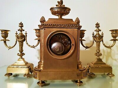 19Th Century French Ormolu Bronze Mantel Clock Garniture. 9
