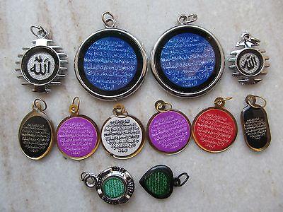 Tribal Ayaat Quran Islamic Holy Spiritual Metal Amulet Necklace Pendent Lot 12P 2