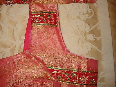 Bn Ladies / Girls Two-Tone Tissue Saree With Cutwork Design & Blouse 4