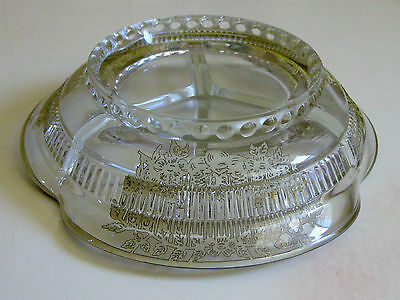 Vintage STERLING SILVER Art Deco Overlay Cut Glass 3 Section CANDY Bowl Dish 5