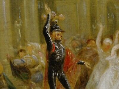 Unusual 18th 19th Century Skeleton Devil Demon At The Banquet Antique Painting 9