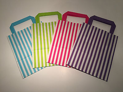 FLAT STRIPE Handle Coloured Paper Bags For Parties & Christmas Bags 2