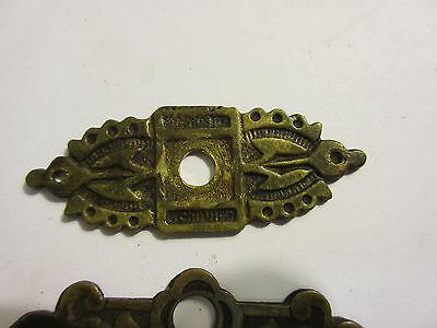 3 Antique Victorian Brass Hardware Drawer pulls Handles key escutcheon B 2