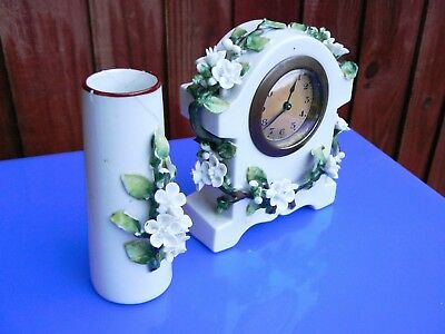 Antique Late Victorian Ceramic Table Clock Set 2