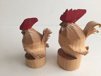 Free shipping msjapan fa254 Wood carving SASANOBORI Rooster figurine set