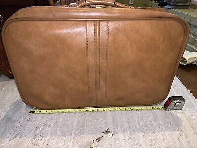 Vintage SCOVILL SUITCASE Tan Faux Leather (3) Piece Luggage 4