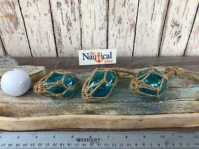 (3) Small Oblong Aqua Glass Fishing Floats On Rope ~ Nautical Decor ~Light Blue 5