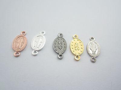 medaglietta madonnina 2 fori per i rosari in argento 925 sterling mis.16,5x8 mm