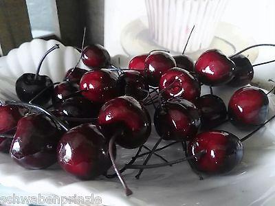 24 x Kirsche Früchte Attrappen Dekoration Kunstobst Dekofrüchte Cherry Draht 3