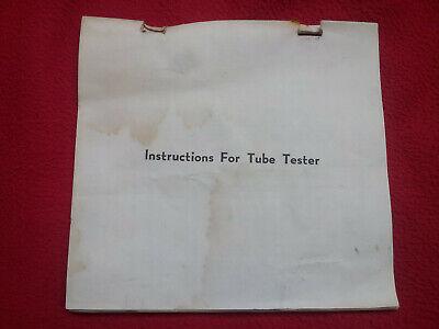 Manual tube tester TC-2 / Tube chart TC-2 / Model tc-2 tube chart Instructions 2