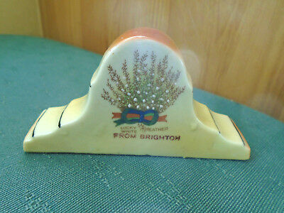 Lucky White Heather From Brighton - Model Of Mantle Clock - Crested China 2
