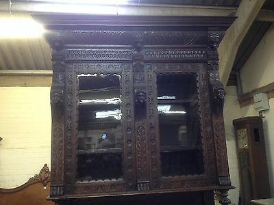Carved Victorian Oak Library Bookcase Angel Dresser GreenMan LionsHead PussyOak1 7
