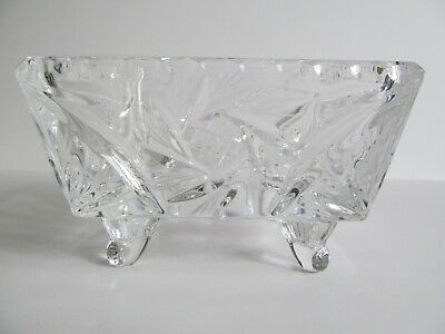 Crystal Glass Bowl Dish 4 inch Square Footed Pinwheel Etched Stars Faceted Vtg 7
