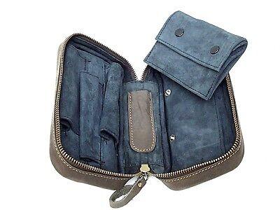 Angelo Leder Pfeifentasche bietet Platz für 3 Pfeifen und ihr Zubehör Braun NEU!