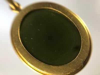 Antique Islamic Rare Green Yemen Agate Stone with 18 K Solid Pendant Frame 6