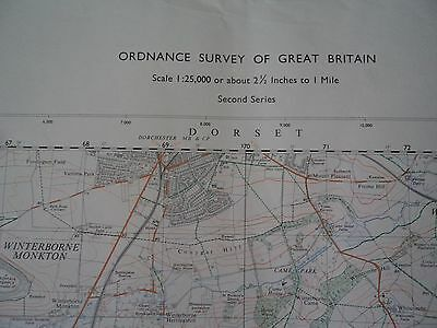 """Ordnance Survey Map 2.5"""" SY68/78 Weymouth N 1969 Dorchester S. Maiden Castle 3"""