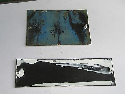 Vintage Door Home/House White Metal Enameled 2 Sign Plates- № 4 & Exemplary home 2