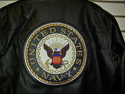 U.S. NAVY Leather Jacket sz Small /XS Black double sided $150 Armed Forces Coat 3
