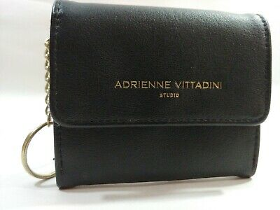 NEW WT WOMEN/'S ADRIENNE VITTADINI WRISTLET WALLET LEATHER BLACK  COIN PURSE