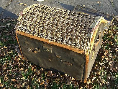 Vintage Oil Cloth/Wicker English Steamer Trunk w/White Star/Cunard Stk c.1930 4