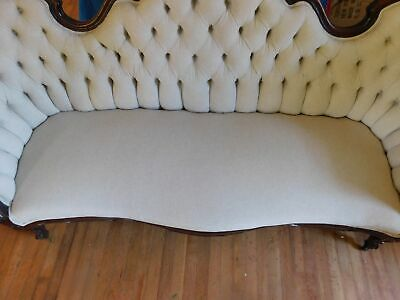 """Victorian Carved Sofa Mahogany Off-White Linen Type Fabric 40""""H 83 3/4""""W 6"""
