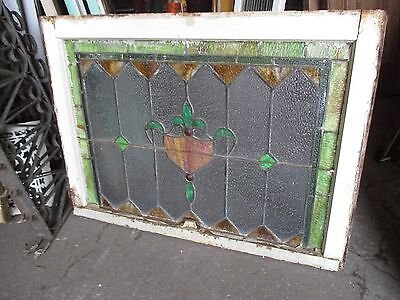 ~ ANTIQUE AMERICAN STAINED GLASS TRANSOM WINDOW 32 x 23.25 ARCHITECTURAL SALVAGE 10