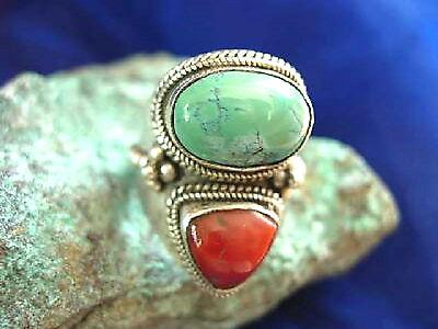Silberring 56 breit Türkis Koralle Antik Handarbeit Ring Silber Indianer Floral 3