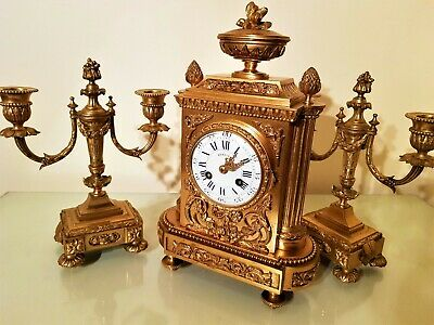 19Th Century French Ormolu Bronze Mantel Clock Garniture. 7