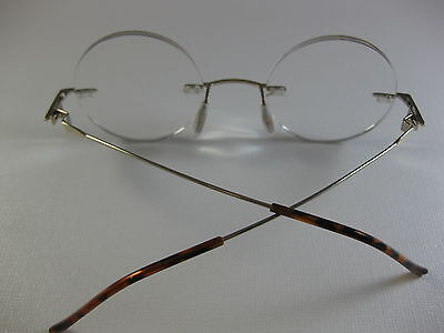 64a4ee3687516 ... RIMLESS ROUND Small Steve Jobs Inspired GOLD Reading Glasses Flex  Temples +2.00 8