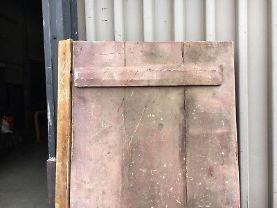 "c1820 feathered board door old red - original hinges 72"" x 29"" solid no warping"