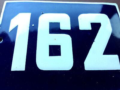 ANTIQUE VINTAGE EUROPEAN ENAMEL SIGN HOUSE NUMBER 162 DOOR GATE SIGN BLUE 1950's