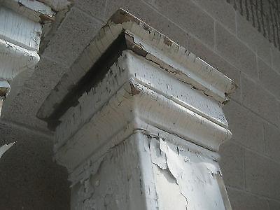 "c1870-80 VICTORIAN square porch POST pier set W CORBELS & fretwork 74"" & 90"" h 3"