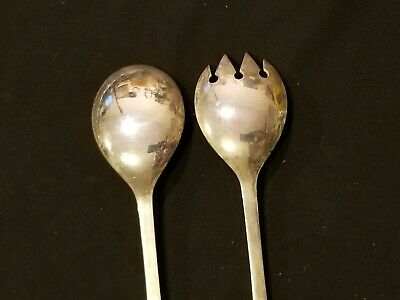 Vintage Set Salad Serving Spoon & Fork Silver Plated Long 9'' ITALY 6