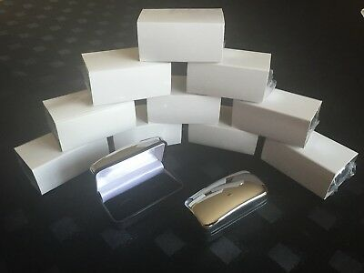 Bulk Buy Chrome Cufflinks Box - 10 Presentation Boxes with Hinged Lid