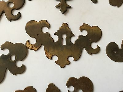 Antique Salvage Decorative Lot Of Solid Brass Cabinet Drawer Handle Cover Plates 7