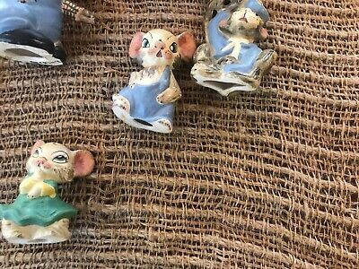 Antique 1919 8 Bisque Nodder Clay Mice Family German? Hand painted & signed RARE 10