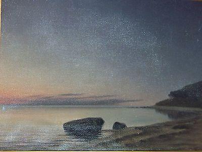 *Marius Nielsen* Listed Danish Artist Antique Seascape Oil On Canvas Painting 10