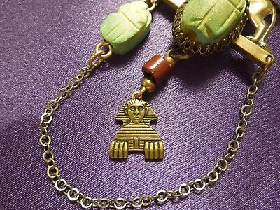 Egyptian Revival Scarab Sphinx W/ Chain Vintage Brooch Pin 5