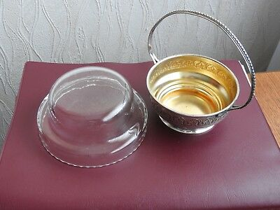 Ancien Sucrier Confiturier En Metal Argente Cristal Centre De Table Cobalt Sugar 4