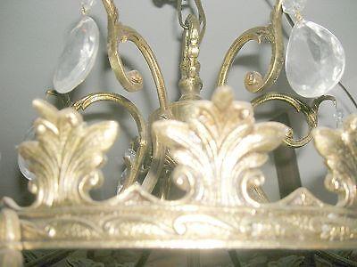 Reduced!! Fabulous Embossed Brass&Crystal  Chandelier Nashville Architect. Salv. 8
