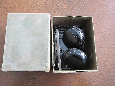 Vtg Hibbard Black Horizontal Rim Lock Set #1773M in original box 5