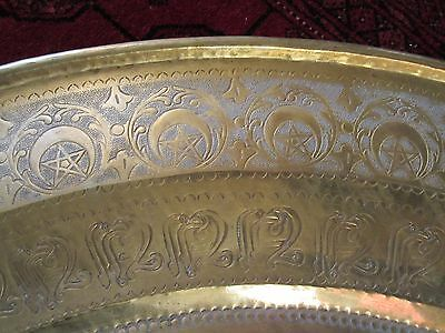 "Gorgeous Antique Persian Islamic Engraved Copper Tray 38"" / 97cm/ 14lbs 6"