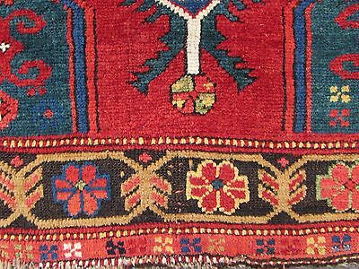 Antique Traditional Hand Made Caucasian Rug Red Green Wool Oriental Rug 142x99cm 10