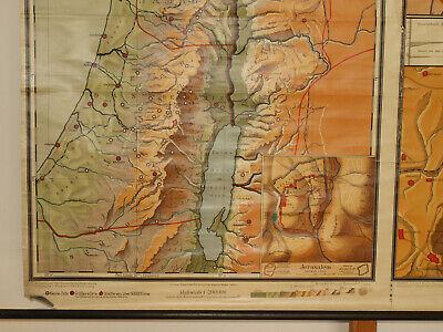 Alte Schulwandkarte Wandkarte Palästina Biblische Länder 202x149cm vintage~1925 8