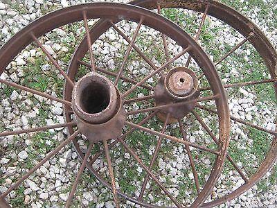 """2 pcs Vintage Rustic Iron Farm Implement Wheel Farm decor 31"""" diameter 4"""" thick 2"""