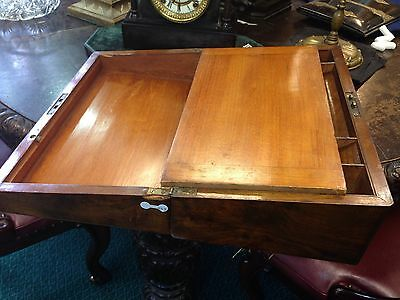 Antique Brass Bound Victorian Walnut  Writing  Box Slope 3