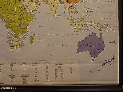 Schulwandkarte schöne alte Weltkarte Bündnisse 198x125 vintage world map 1969 6