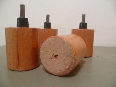 Lot de 4 pieds de lits ronds en bois vernis naturel 13 cm hauteur 2