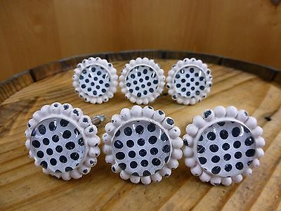 6 WHITE BLACK DOT FLOWER GLASS DRAWER CABINET PULLS KNOBS VINTAGE chic hardware 3