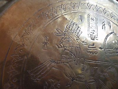 AIA414 BRASS ANCIENT EGYPT REPRODUCTION  TRAY, engraved chariot & horse design 8
